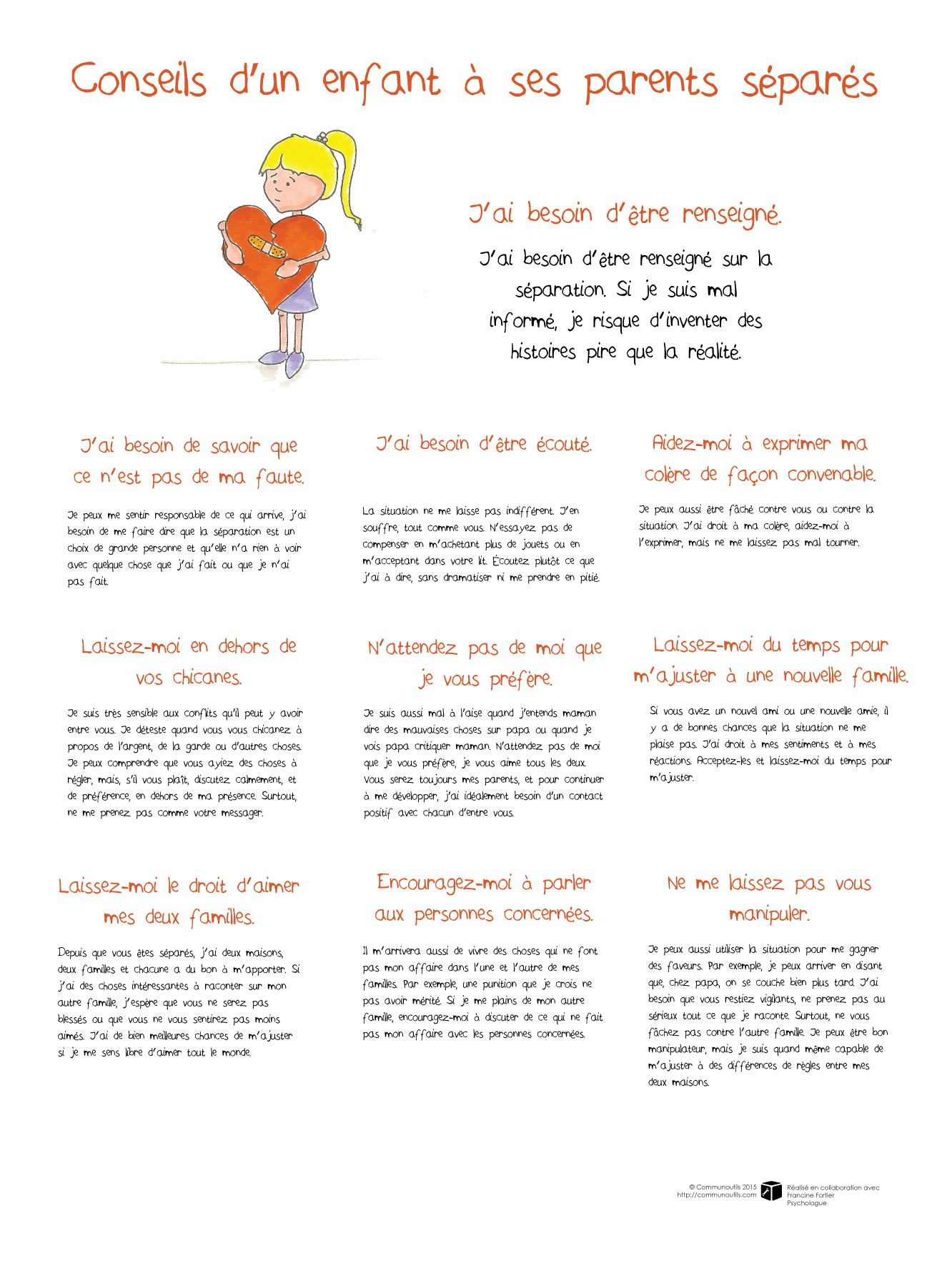 Affiche conseils d 39 un enfant ses parents s par s communoutils - Site pour parents separes ...